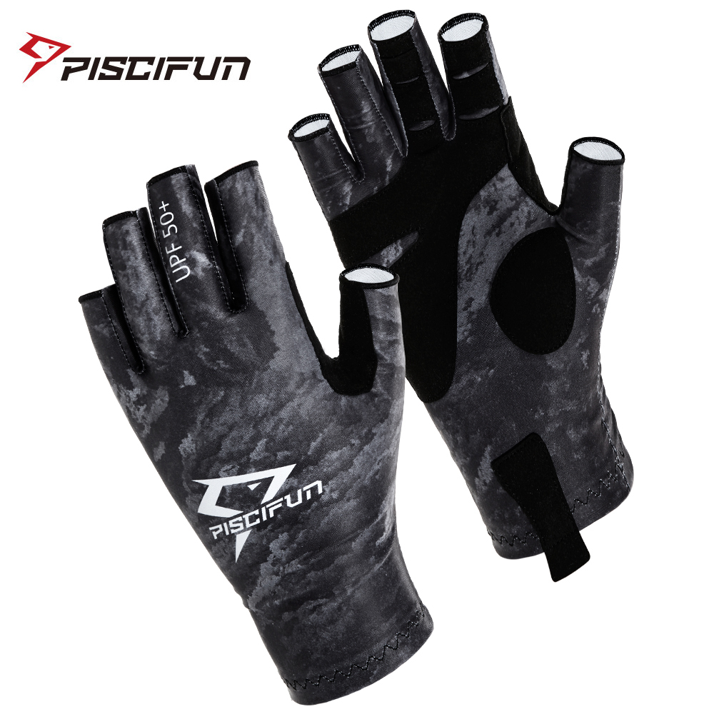 Piscifun Fishing Gloves Breathable UPF 50+ Sun Protection Fingerless Sports  Gloves Use for Outdoor Kayaking Tackle Equipment