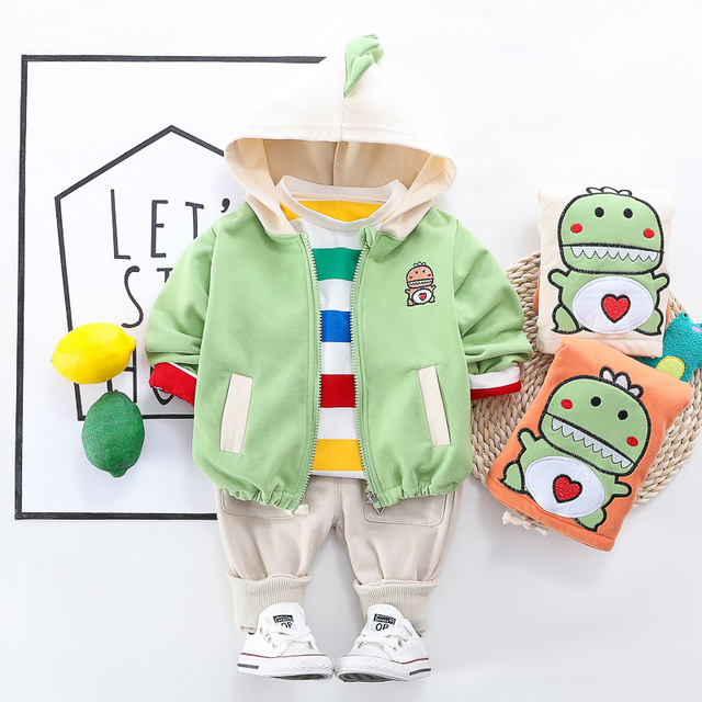 Toddler Clothes Kid Baby Boys Hooded Jacket T Shirt Clothing Sets 3PCS/Set Cotton Infant Children Outwear Boys 1 2 3 4 Years