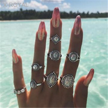 X-ROYAL 8Pcs/set Women Classic AB Color Gem Antique Silver Rings Vintage Style Female Crystal Pine Stone Geometric Suit