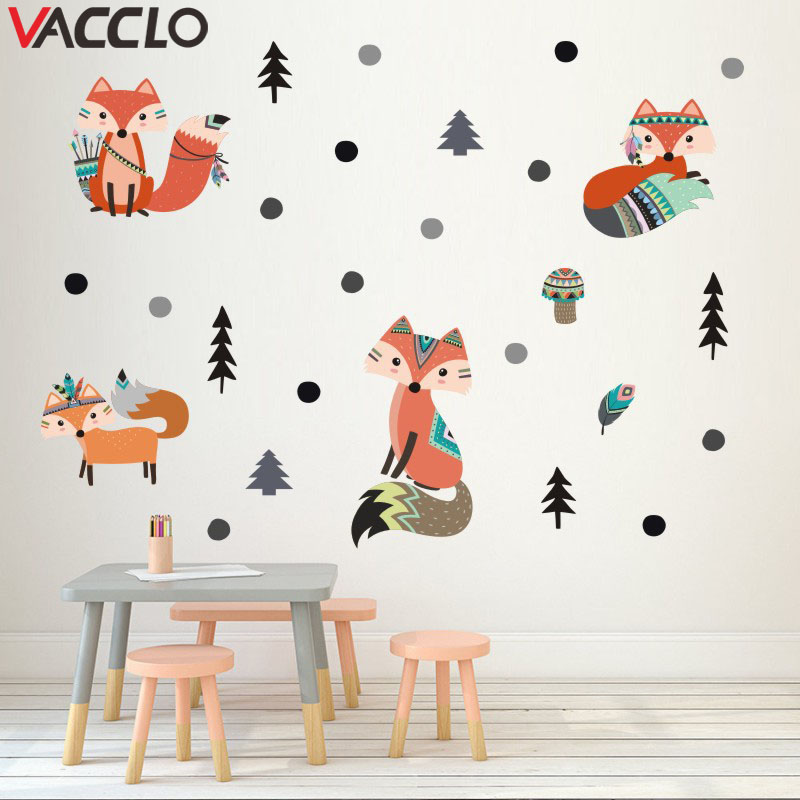 Vacclo Indian Style Animal Fox Pine Tree Wall Stickers Children's Room Living Room Bedroom Self-adhesive Paper Wallpaper Sticker(China)