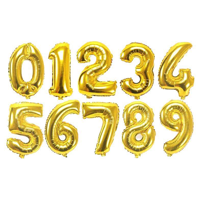 40 pulgadas globo de papel de aluminio grande número de globo de papel de aluminio Rosa oro plata Digital fiesta de cumpleaños decoración piscinas flotador - 3