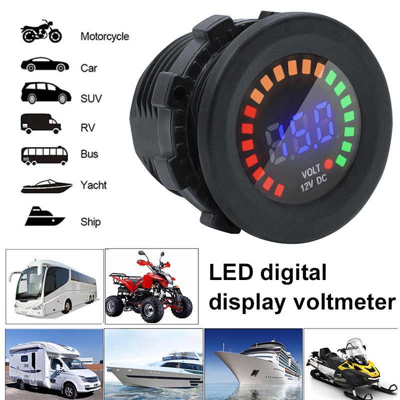 Voltmètre compteur de tension numérique Mini jauge de tension motos étanche DC 12V IP65 universel