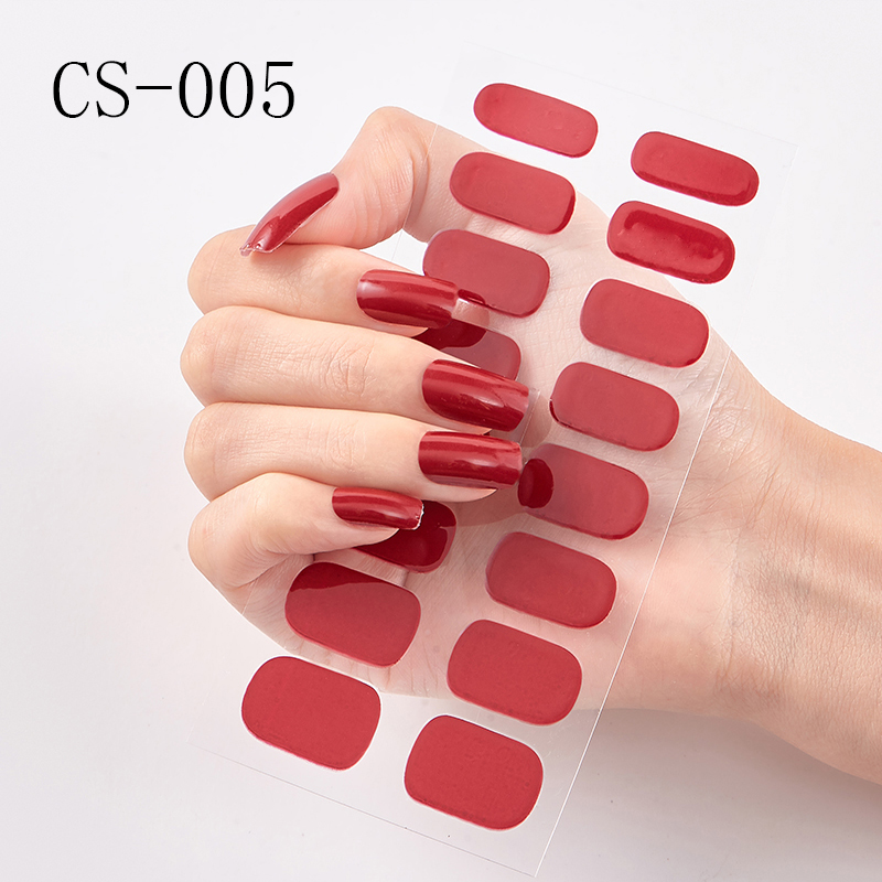 Lamemoria 16tips/sheet Full Cover Wraps Nail Polish Stickers Strips Plain Nail Art Decorations Solid Color Manicure Tips