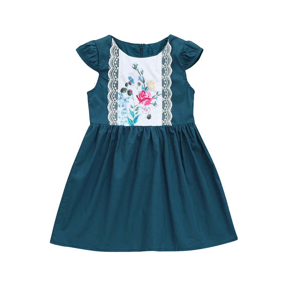 Toddler Kids Baby Girls Dress Princess Summer Zipper Lace Ruffles Floral  9.3