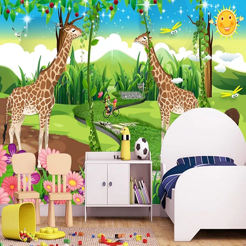 Custom Large Mural 3D Wallpaper Fairy Tale World Cartoon Giraffe Child Tree Bedroom Mural TV Back Wall Decor Deep 5D Embossed