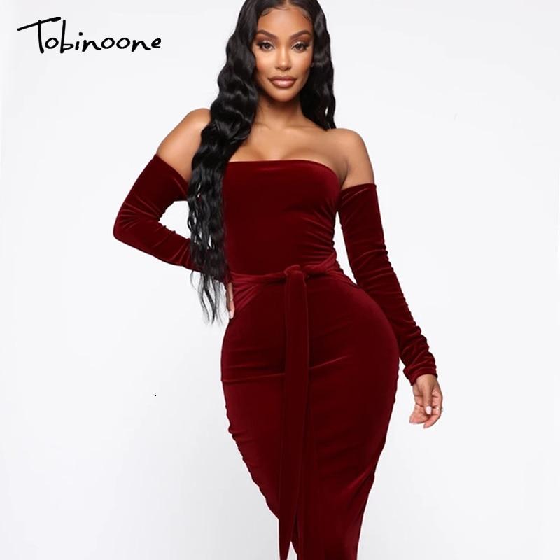 Tobinoone Burgundy Solid Off Shoulder Velvet Party Dress Women 2019 Autumn Long Sleeve Elegant Dress Ladies Christmas Midi Dress