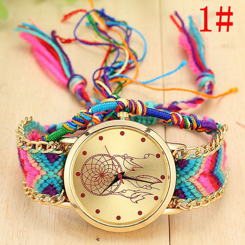Fashion Women Quartz Watch National Style Colorful Dial Wrist Watches With Weaving Strap TT@88