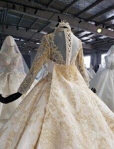 Image 5 - Ivoor Lange Mouwen Trouwjurken Met Gouden Kant Voor Vrouwen 2020 Prinses Puffy V hals Corset Real Foto Vintage Bridal jassen