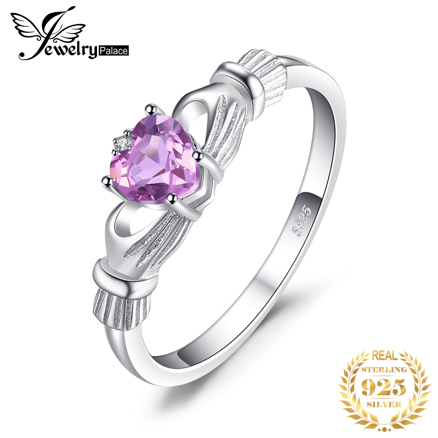 JewelryPalace Celtic Claddagh Natural Amethyst Ring 925 Sterling Silver Rings For Women Promise Ring Silver 925 Fine Jewelry
