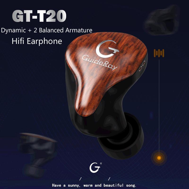 GuideRay GR-T20 Dynami 2 Balanced Armature DD+2BA Hybrid Bass Hifi Music Monitor Studio Earphones Earbuds  0.78mm Cable