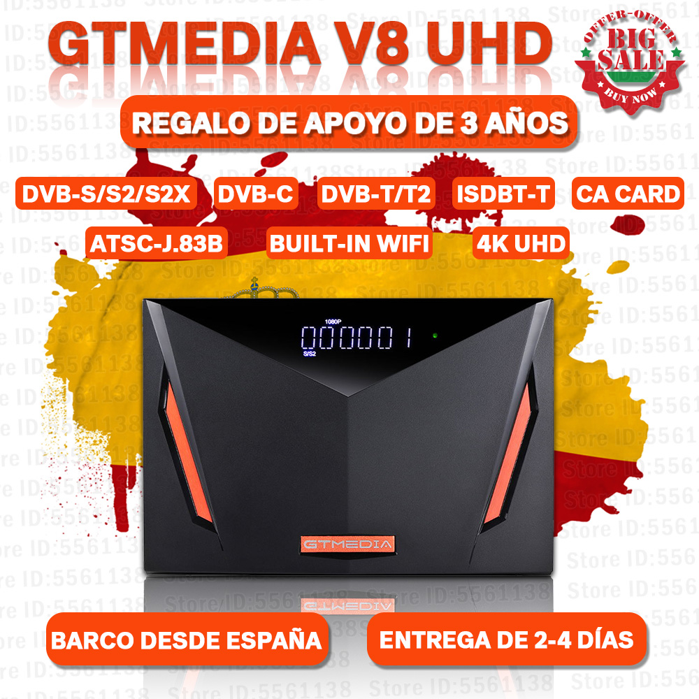 Neue Ankunft GTMEDIA V8 UHD DVB-S2 Recepter CA karte slot gebaut in wifi H.265 GTmedia v8 nova freesat v9 super keine app enthalten