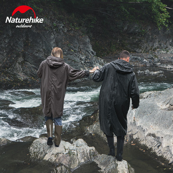 Naturehike Outdoor Raincoat Black Adult  Breathable Poncho Windproof Raincoat Outdoor Men's Long Style Hiking rain coa
