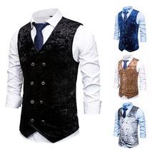 PUIMENTIUA Mens Slim Fit Double Breated Suit Vest 2019 Brand  Formal Dress Business Wedding Waistcoat Men Solid Color Homme