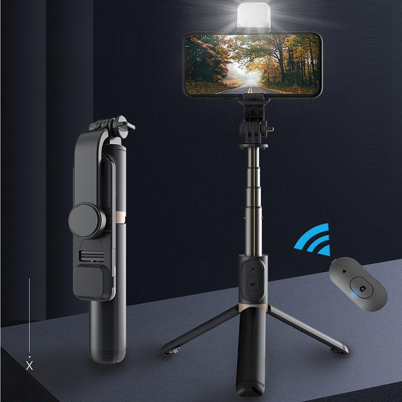 FANGTUOSI Bluetooth selfie stick expandable mini tripod with LED fill light and shutter remote control for Android IOS