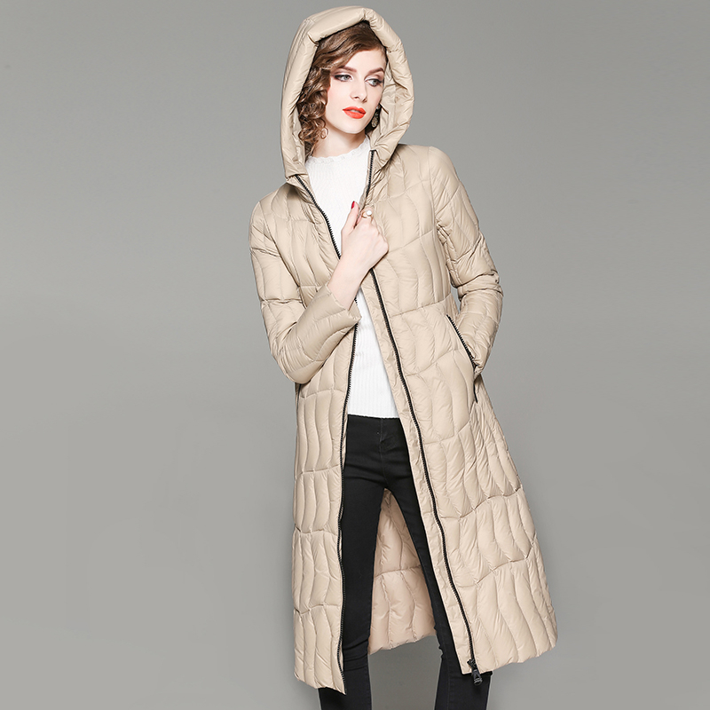 Autumn Winter White Duck   Down   Jacket Women 2019 New Hooded Long Over The Knee Slim   Down     Coat   Fashion Casual Thin Women Overcoat