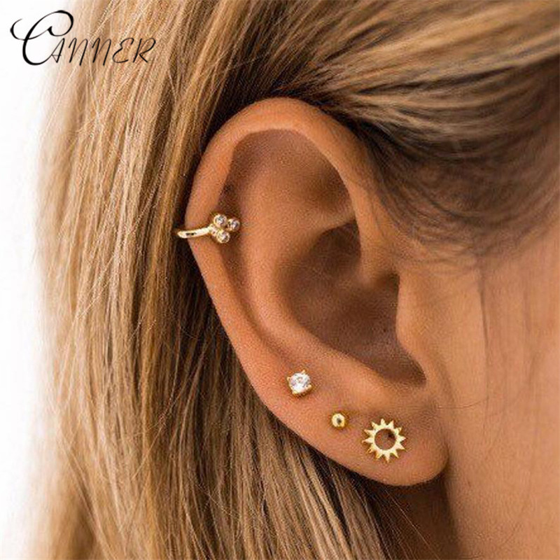 CANNER Minimalist Small Earring Simple Geometric Stud Earrings for Women Tiny Ear Studs Sun flower 925 Sterling Silver Earrings