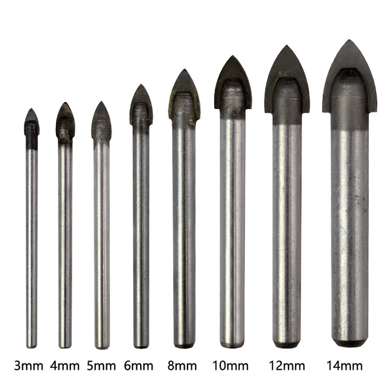3-14mm Cemented Carbide Tip Glass Drill Bit Tool Set Tipped Spear Head Countersink Bit For Metal Marble Tile Hole Saw Power Tool