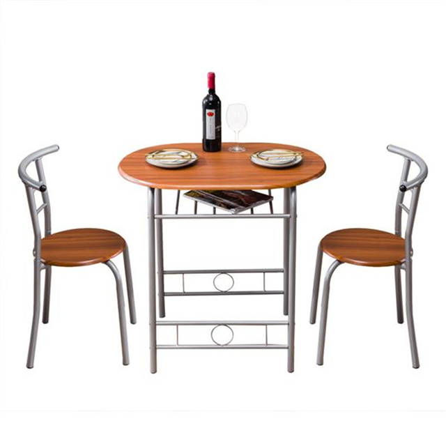 PVC Breakfast Table (One Table and Two Chairs) Black For Living Room Garden Kitchen Table Chairs Furniture 6