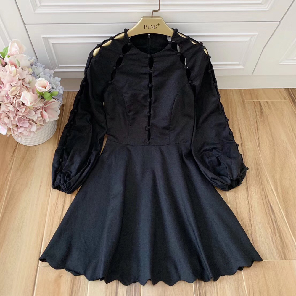 Baogarret Runway Women Sexy Hollow Out Heavy Manual Buttons Black Mini Dress Lady Autumn Holiday Linen Vestidos Robe Femme in Dresses from Women 39 s Clothing