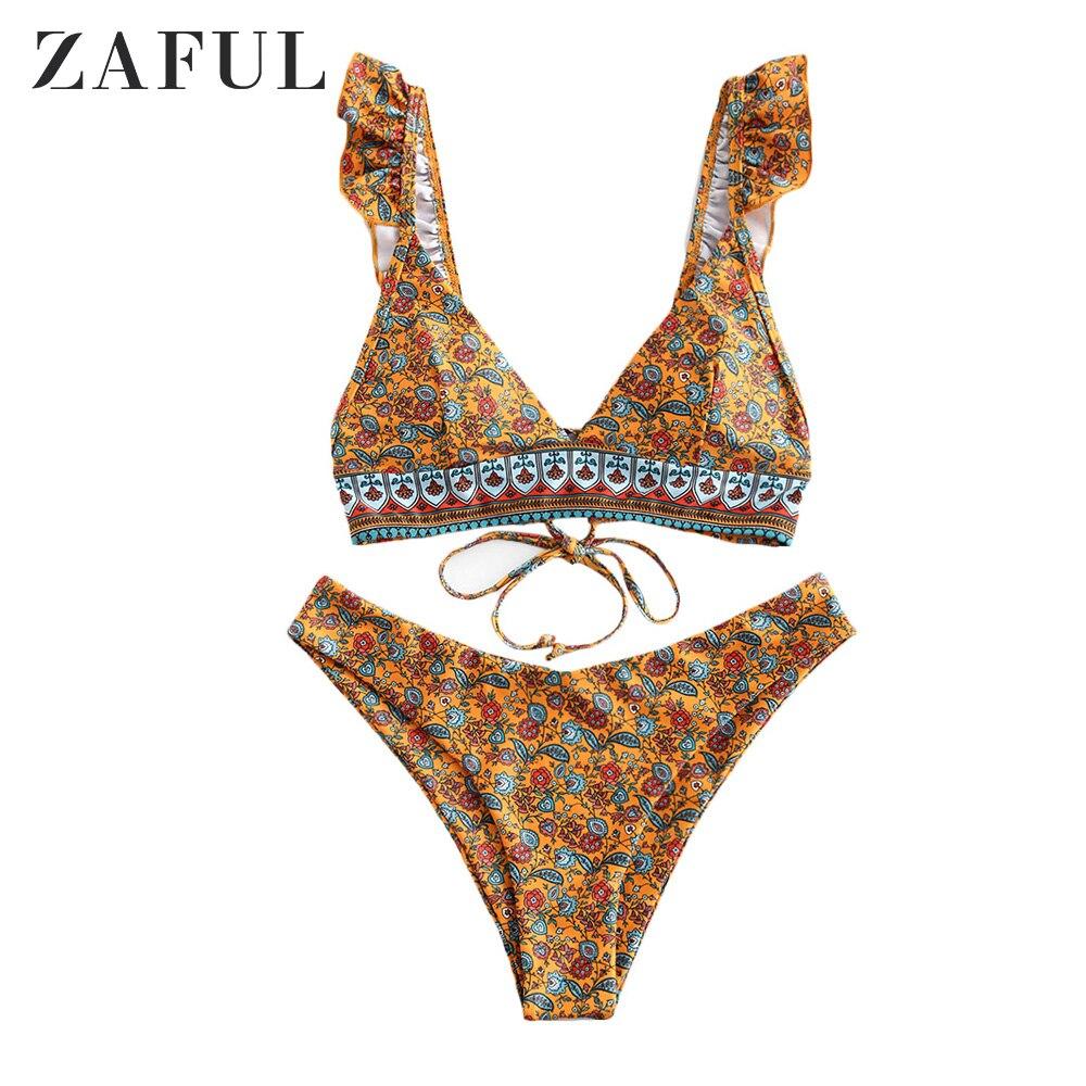 ZAFUL Bikini Flower Print Ruffle Lace Up High Cut Bikini Swimwear Two Piece Wire Free Sexy Bathing Suit Holiday Beach Swimwear
