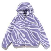 Jackets Parka Fleece Padded Hooded Oversize Lambswool Warm Thick Men Womens Winter Zebra