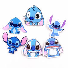 1PCS Lilo&Stitch Long ear Harajuku Acrylic Badges Backpack Pins Clothes hat Sticker Cartoon Anime Brooch children Girls gifts(China)