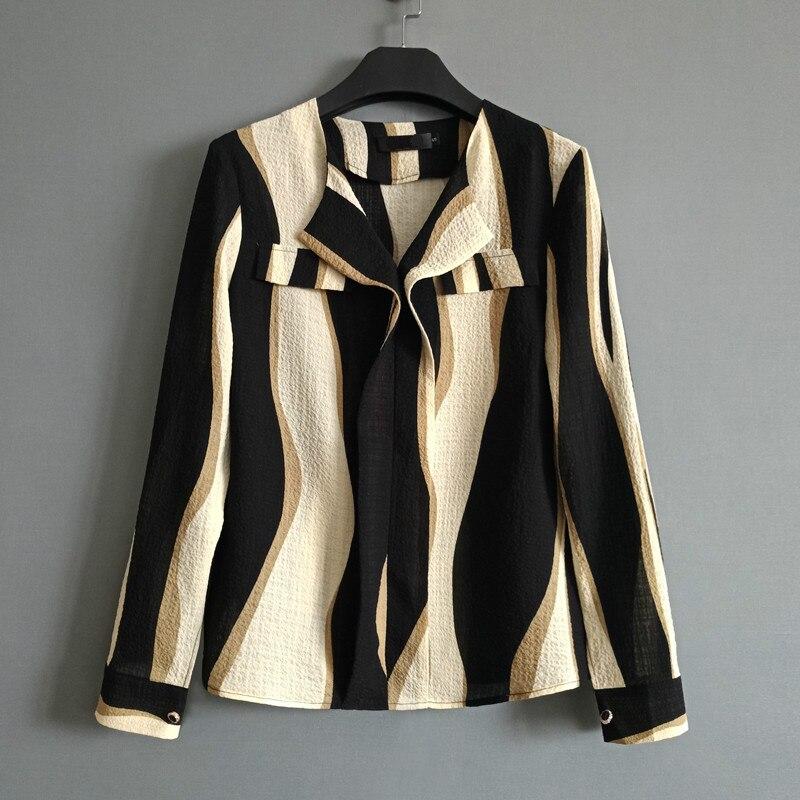 2019 automne Colorblock vague impression Blouse femmes élégantes rayures Blouses chemise décontracté femmes Blouse hauts