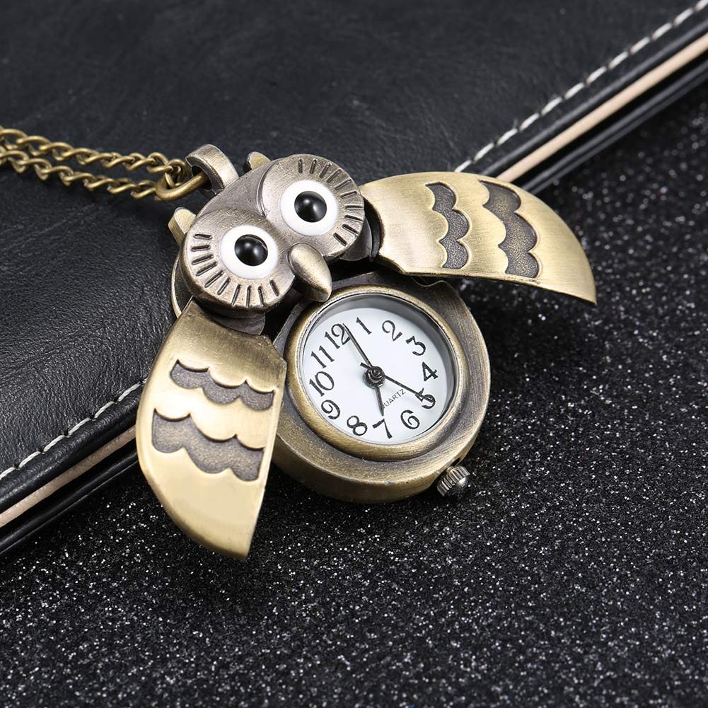 Fashion Vintage Men Women Pocket Watch Alloy Retro Owl Shape Clock Pendant Long Necklace Chain Watches Birthday Gifts HS