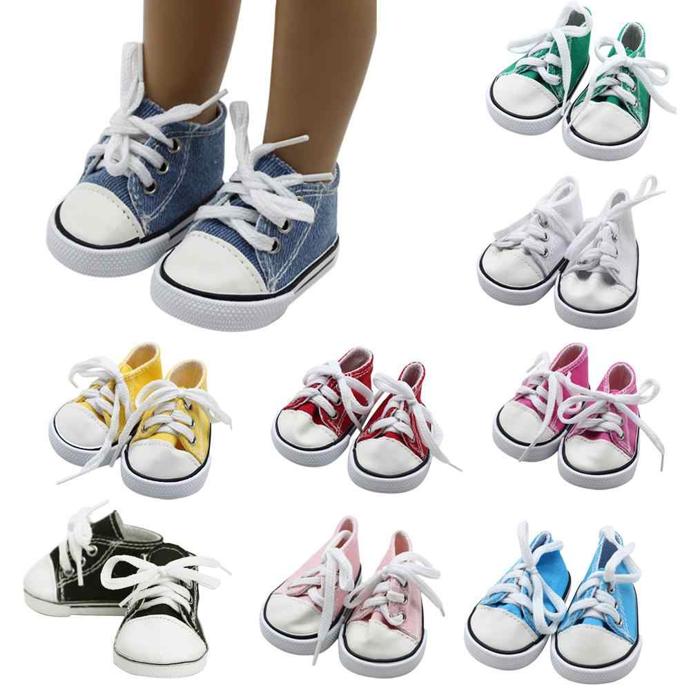 5*7 cm Mini Canvas Shoes for Dolls DIY Handmade Doll Accessories Sneakers 18 Inch Doll Shoelace Cloth Shoes