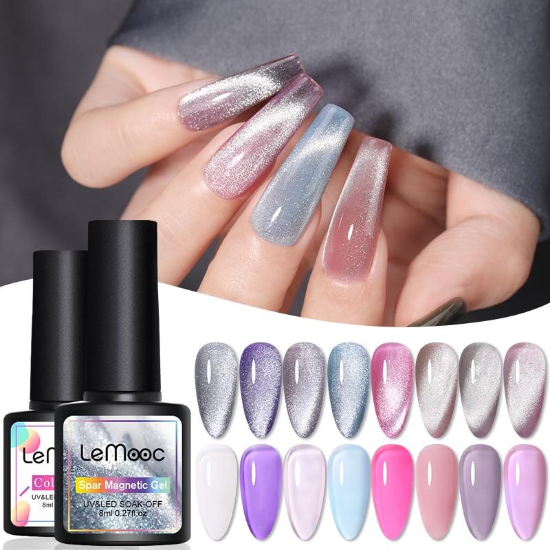 LEMOOC прозрачный радужный Гель-лак для ногтей гибридные лаки для ногтей 8,0 мл Spar Cat Магнитный отмачиваемый эмалевый УФ-гель