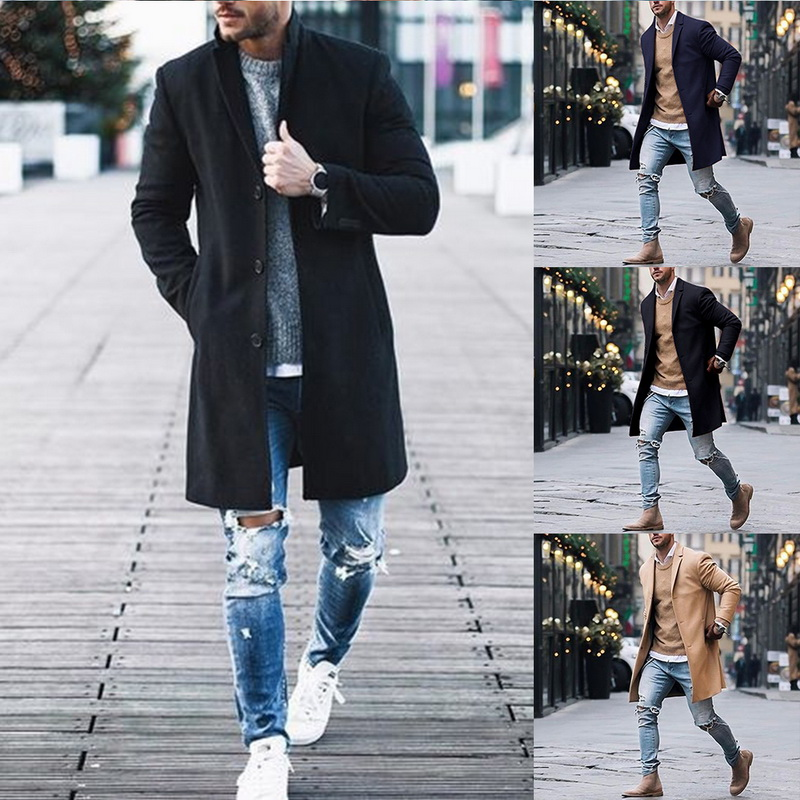 2019 Winter Wool Jacket Men's High-quality Wool Coat Casual Slim Collar Woolen Coat Men's Long Cotton Collar Trench Coat 11