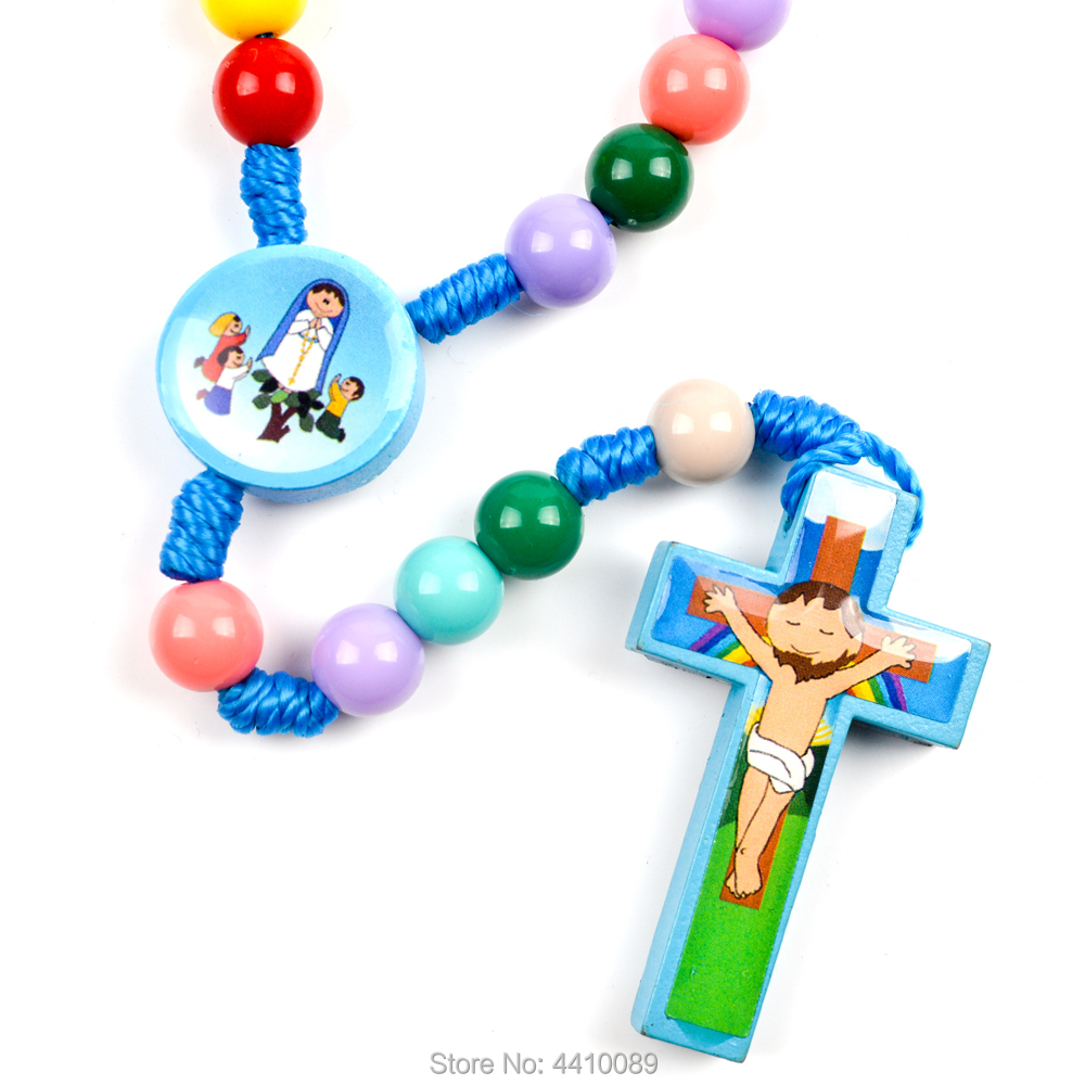 Kids Rosary Carton Fatima Boy Girl Pink Blue Wood Colorful Sticker Bead Cord Baptism For Children