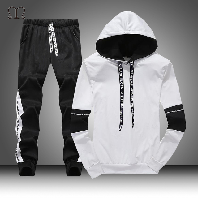 White Black Men Hoodies Set Fashion 2020  1