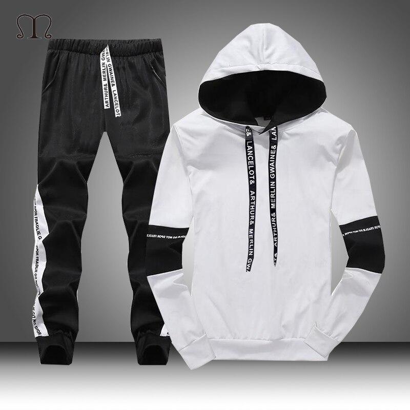 לבן שחור גברים נים סט אופנה 2019 סתיו מותג מקרית אימונית Mens סט ספורט שתי חתיכה טלאי מכנסיים הסווטשרט זכר חליפה
