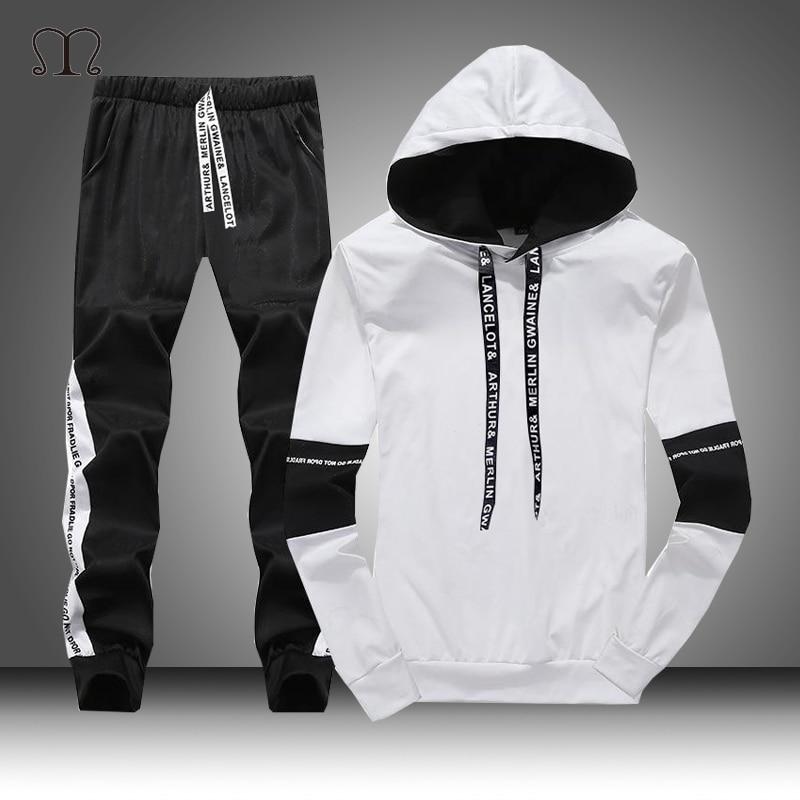 White Black Men Hoodies Set Fashion 2020 Autumn Brand Casual Tracksuit Mens Set Sports Two Piece Patchwork Hoodie Pant Male Suit