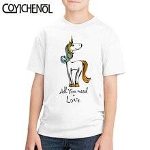 Unicornio niños camiseta niños lindo de talla grande cartoonNew 2 12 años Kawaii camiseta de dibujos animados impresos homme COYICHENOL