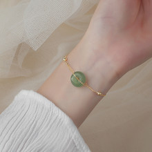 Pulsera de oro de piedra verde redonda para mujer y niña, Plata de Ley 925, accesorios de joyería para fiesta, regalo de aniversario, S-B438