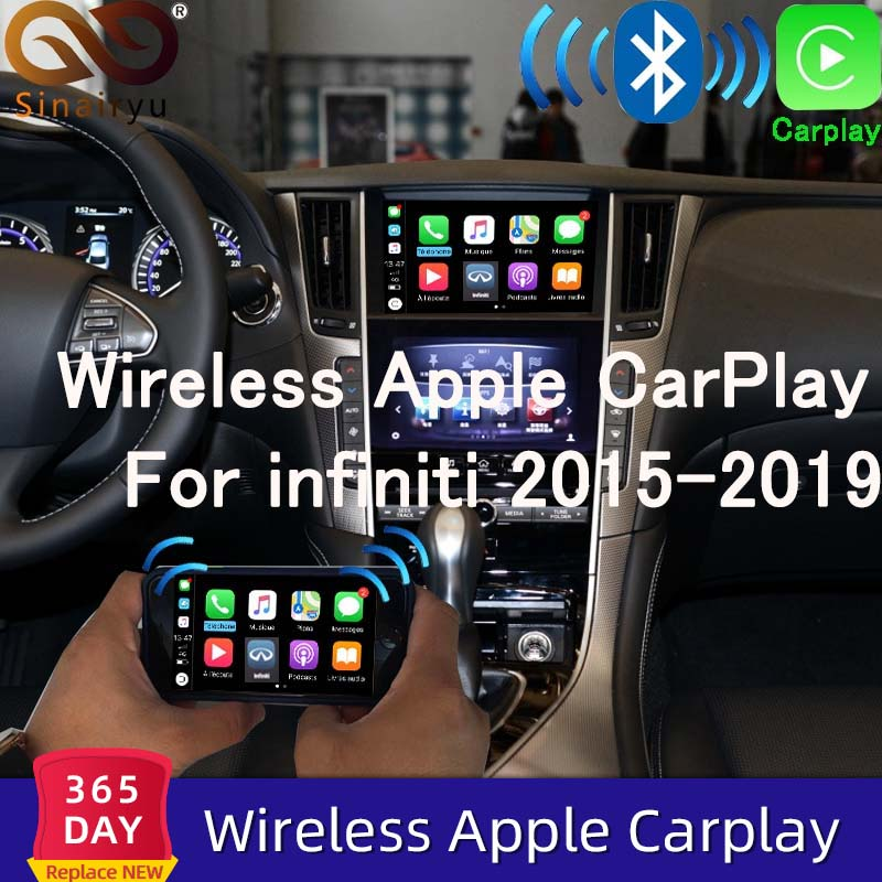 Sinairyu sem fio apple carplay para infiniti tela de 8 polegadas 2015-2019 q50 q60 q50l qx50 android espelho automático wifi jogo de carro airplay