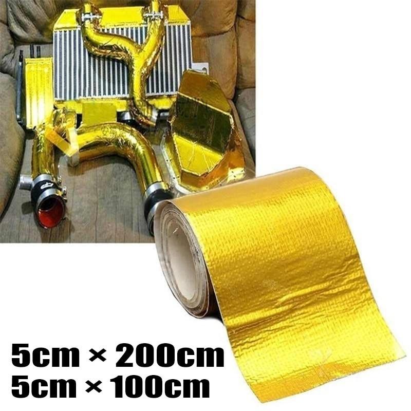 Adhesive Reflective Gold High Temperature Heat Shield Wrap Tape Fire-retardant Fiberglass Belt Automobile Motorcycle Refit Tap