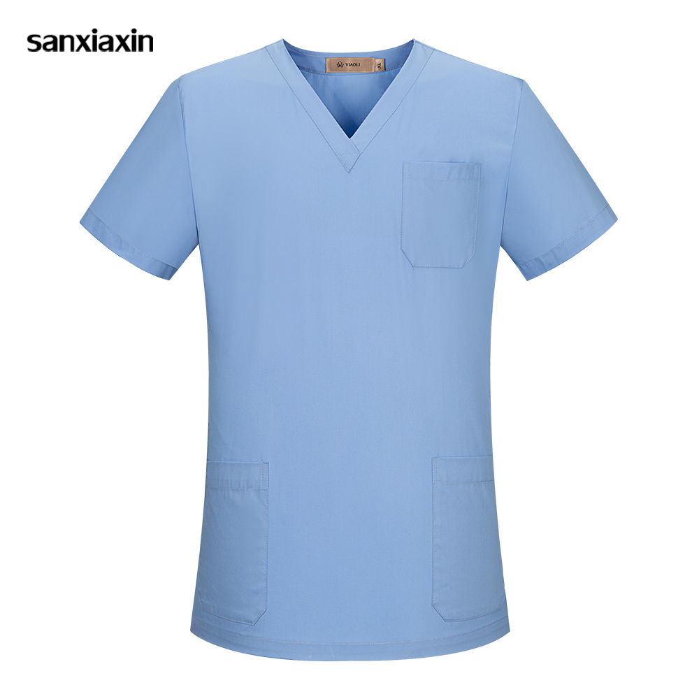 Sanxiaxin New Medical Work Wear V Neck Solid Surgical Uniform Short Sleeve Summer Nurse Uniform Nursing Uniform Scrubs Lab Coat