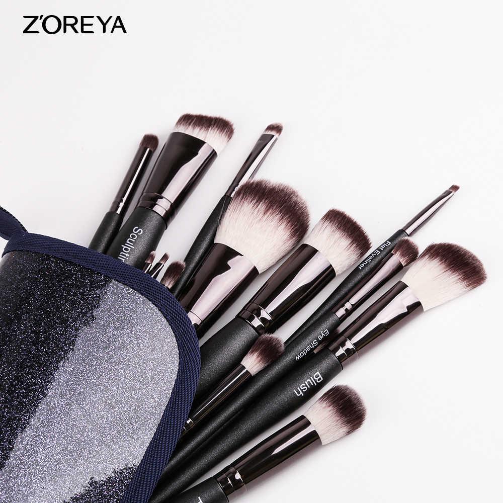 ZOREYA Make Up Borstel Set 5/10/15pcs Make-Up Kwasten Poeder Beeldhouwen Contour En Oogschaduw Borstels met Bowling Handvat 2019 Nieuwe