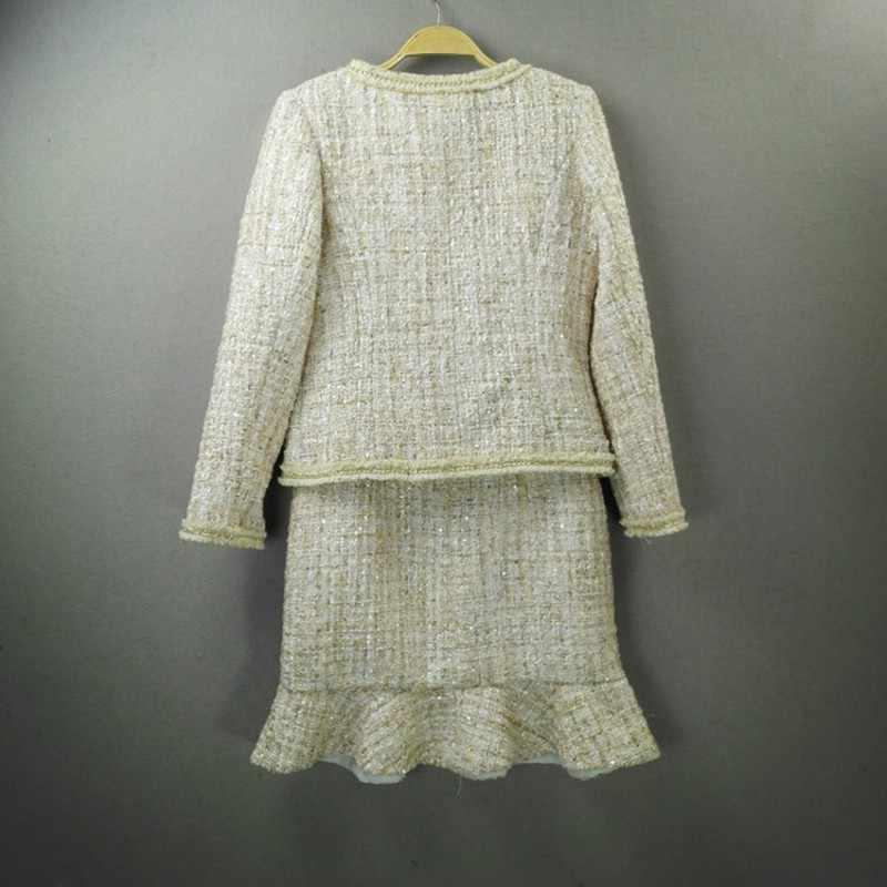 Włoski elegancki panie Runway Tweed bez rękawów sukienka z marszczeniami Twill płaszcz dwuczęściowy strój zestawy wesele biuro kobiet garnitury