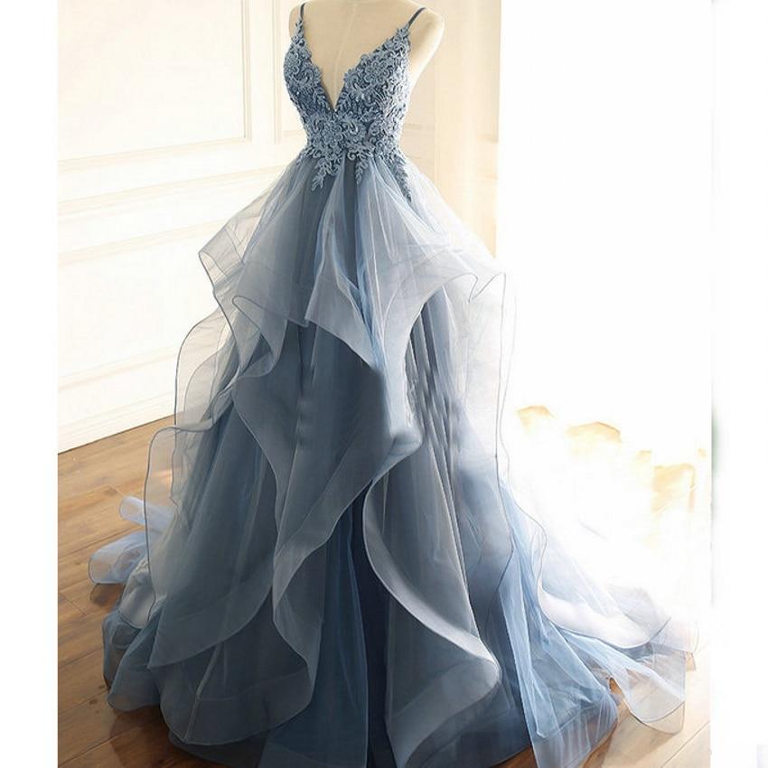 Vestidos De Fiesta 2021 Blue Evening Dresses A Line Formal Long Spaghetti Lace Beading Prom Dress