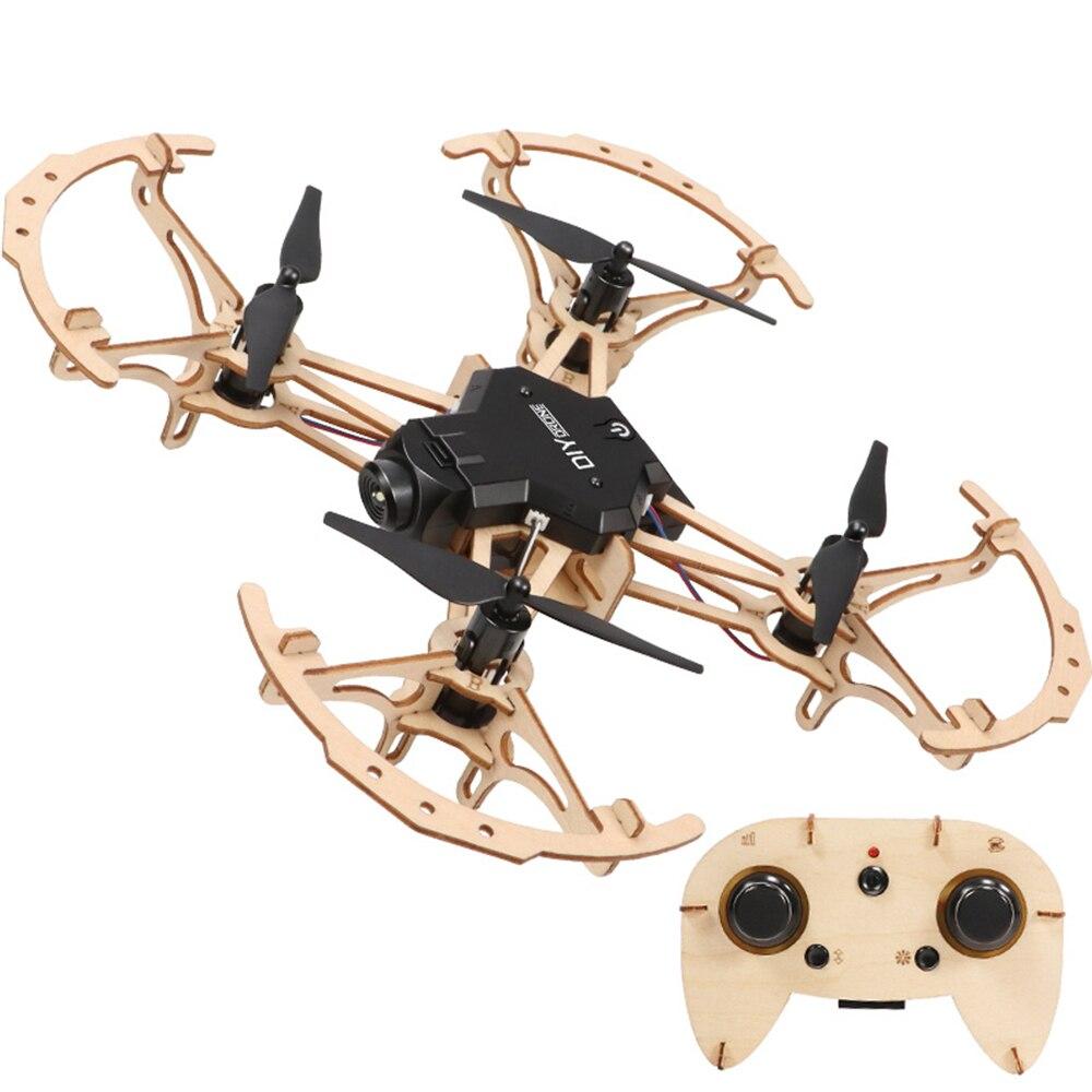 Enfants Kid en bois bricolage Drone Mini poche course RC en bois assemblé quadrirotor avec caméra HD 2.4GHz télécommande jouets
