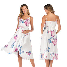 Fashion Maternity Dresses Sleeveless Suspender Leaf Print Dresses Pregnancy Summer Beach Maxi Dress For Photo Shoot Pregnant