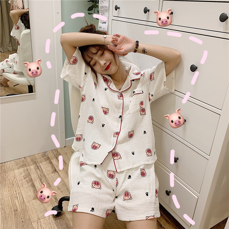 Summer Home Wear Women's Pure Cotton Fashion Western Style This Year B Into Pig Pajamas Suit Tracksuit South Korea New Style