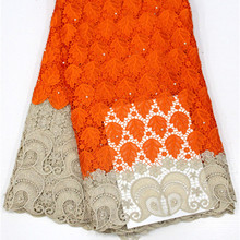 Lace-Fabric Cord Guipure Nigerian African with Beads Good-Quality Polyester-Material
