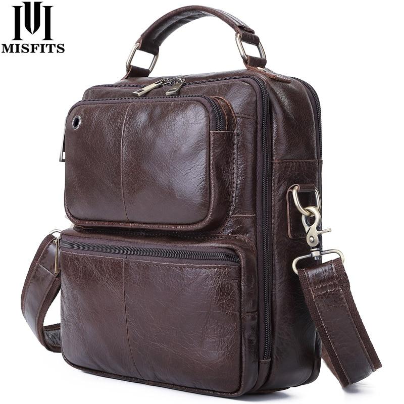 MISFITS 2020 Genuine Cow Leather Men Tote Messenger bag Multifunctional Casual Crossbody Shoulder Bags Travel Business Handbag|Top-Handle Bags| - AliExpress