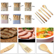 Portable Bamboo Cutlery Travel Eco-friendly Fork Spoon Set Include Reusable Bamb Kitchen Accessories Kitchen Gadgets Kitchen(China)