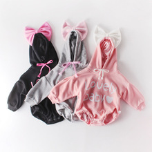 2020 Newborn Bow Cute Baby letters Hooded Long Cotton Plus Cashmere Sleeve Clothes Rompers Autumn Spring Kids Toddler Romper